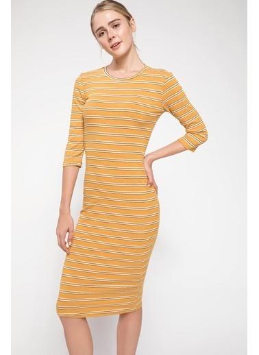 DeFacto Çizgili Midi Elbise Sarı
